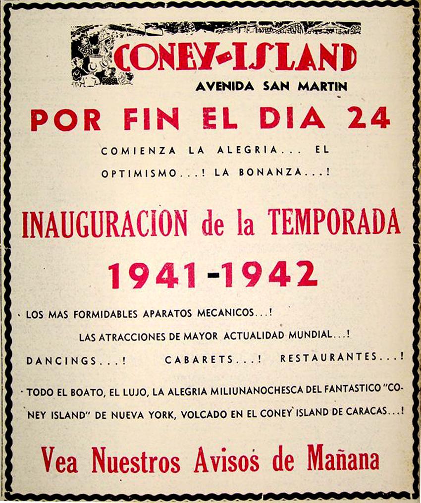 Invitación a la inauguración del Coney Island en la avenida San Martín, año 1941. Imagen cortesía de C@nonico