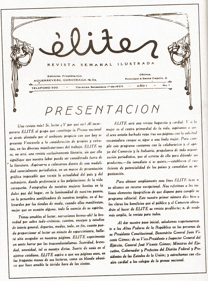 17 de septiembre de 1925, aparece el primer número de la revista Elite,